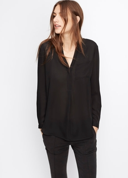 Vince - Silk Long Sleeve Popover Blouse