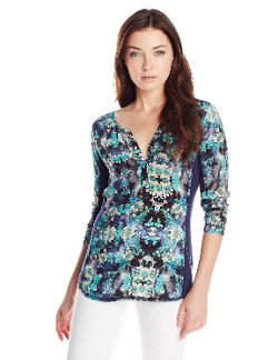 Nanette Lepore - Secret Getaway Silk and Knit Long Sleeve Blouse