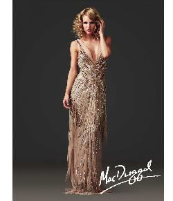 Mac Duggal  - 2014 Couture Nude Beaded V-Neck Gatsby Inspired Dress