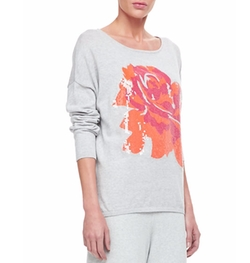 Joan Vass - Sequined Floral Dolman-Sleeve Sweater