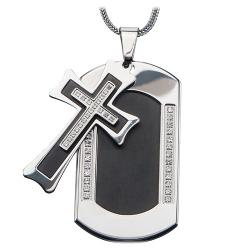 Inox  - Mens Stainless Steel Black Cross Cubic Zirconia Dog Tag