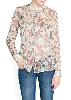 Mango Outlet - Pleated Chiffon Floral Blouse