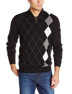 Haggar  - Asymmetrical Argyle Quarter-Zip Sweater
