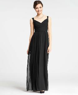 Ann Taylor - Petite Silk Georgette V-Neck Gown