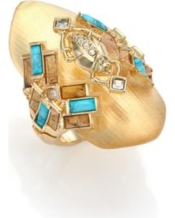 Alexis Bittar - Phoenix Deco Lucite, Turquoise Howlite, Jasper & Crystal Beetle Shield Ring