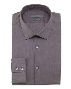 John Varvatos - Slim-Fit Solid Poplin Dress Shirt