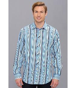 Thomas Dean & Co.  - Blue Satin Stripe Point Collar Button Down L/S Sport Shirt