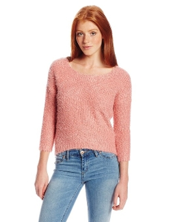 Pink Rose - Juniors Deep Scoop Eyelash Crop Sweate