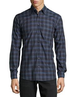 Neiman Marcus  - Long-Sleeve Plaid Sport Shirt