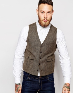 Asos - Slim Vest In Donegal