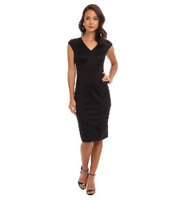 Marc New York by Andrew Marc  - V-Neck Inset Waist Mid Length Sheath Dress