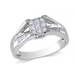 Ice - Princess Diamond White Gold Fashion Ring