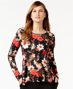 Cece by Cynthia Steffe - Floral-Print Long-Sleeve Top