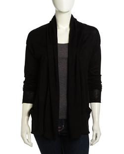Neiman Marcus  - Two-Pocket Open-Front Linen Cardigan