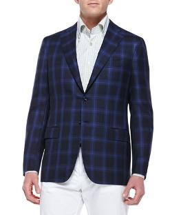 Kiton  - Cashmere-Silk Plaid Sport Coat