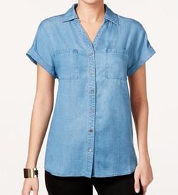 Style & Co. - Petite Button-Down Denim Shirt