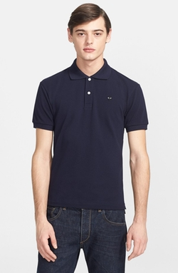 Comme Des Garçons - Piqué Polo With Small Heart Appliqué Shirt