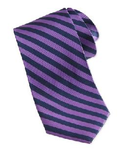 Neiman Marcus  - Bias Stripe Skinny Silk Tie, Purple