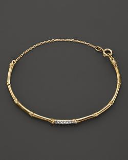 John Hardy  - Bamboo 18K Yellow Gold Diamond Pavé Slim Bracelet