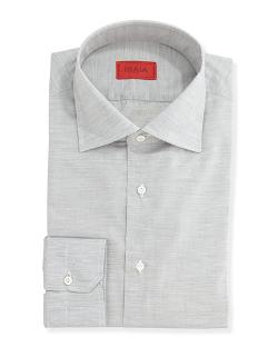 Isaia  - Solid Woven Dress Shirt