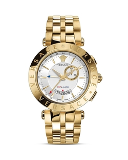 Versace - V-Race Gmt Alarm Stainless Steel And Gold Pvd Watch