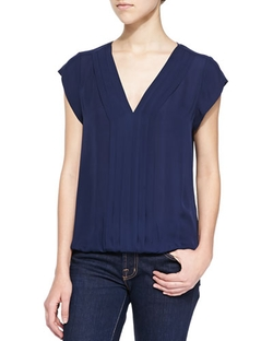 Joie	  - Marcher Pleated Front V-Neck Top