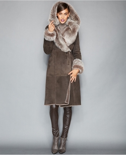 The Fur Vault  -  Toscana Shearling Hooded Wrap Coat