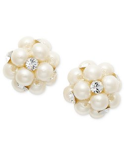 Charter Club  - Simulated Pearl Cluster Stud Earrings