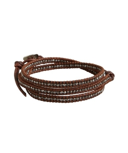 Chan Luu - Burnt Sienna Leather And Sterling Silver Bracelet