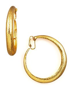 Jose & Maria Barrera - Hammered Golden Clip-On Hoops