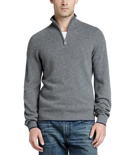 Neiman Marcus - Tipped Pique 1/4-Zip Sweater
