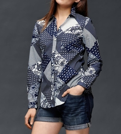 Gap - Fitted Boyfriend Bandana Patchwork Shirt