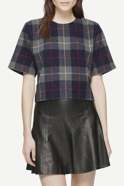 Rag & Bone - Charcoal Plaid Crop Top