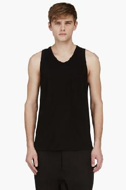 ALEXANDER WANG - BLACK JERSEY POCKET TANK TOP