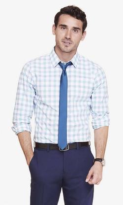 Express - Extra Slim Plaid Dress Shirt