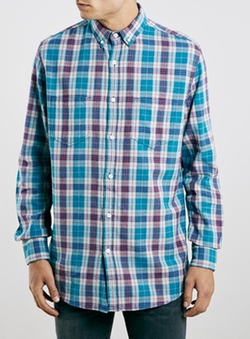 Topman - Pastel Casual Check Skater Fit Long Sleeve Shirt