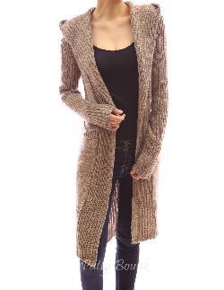PattyBoutik - Hooded Long Sleeve Pockets Belt Knit Open Cardigan Jumper Coat