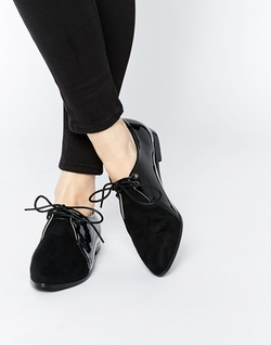 Daisy Street - Pointed Toe Lace Up Flat Shoes