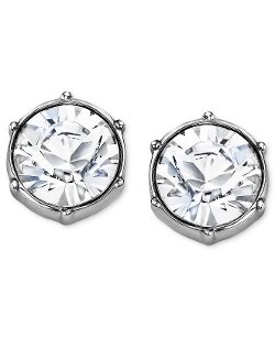 Swarovski Earrings - Rhodium-Plated Crystal Round Stud Earrings