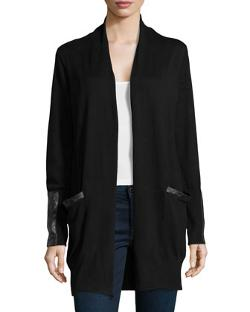 Neiman Marcus  - Knit Cardigan with Faux-Leather