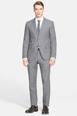 John Varvatos Collection  - Austin Houndstooth Wool & Linen Suit