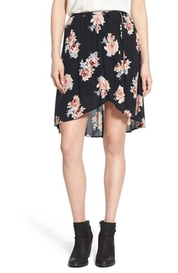 Band of Gypsies  - Floral Print Faux Wrap Skirt
