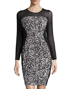 Muse  - Abstract-Print Mesh-Sleeve Dress