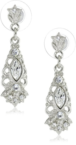 1928 Jewelry - Crystal Filigree Drop Earrings