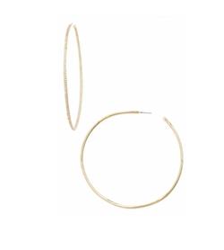 CZ By Kenneth Jay Lane - Skinny Inside Out Hoop Earrings