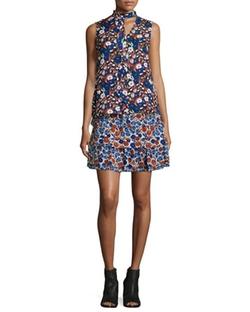 Derek Lam 10 Crosby  - Floral-Print Sleeveless Silk Ruffle Dress