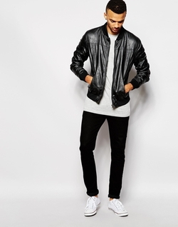 Barneys - Faux Leather Bomber Jacket