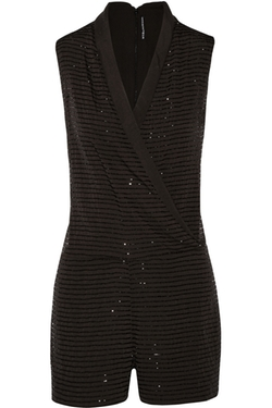 W118 By Walter Baker  - Gabby Wrap Bead Embellished Satin Playsuit