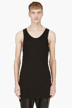 ANN DEMEULEMEESTER - BLACK RIBBED CLASSIC TANK TOP
