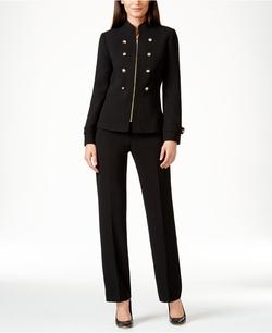 Tahari Asl - Zip-Front Military Pantsuit